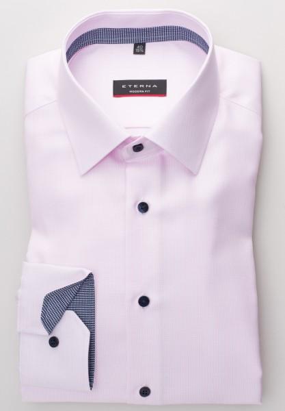 Eterna Hemd MODERN FIT TWILL STREIFEN rosa mit Modern Kent Kragen in moderner Schnittform
