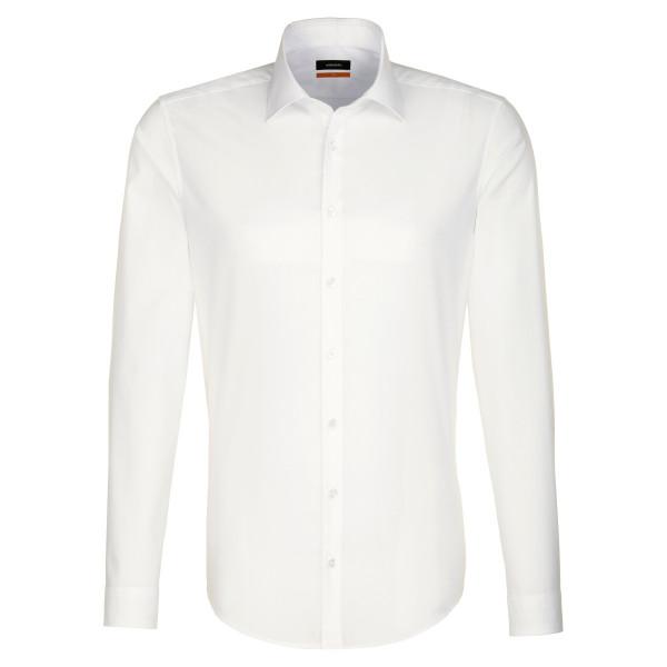 Seidensticker SLIM FIT Hemd UNI POPELINE beige mit Business Kent Kragen in schmaler Schnittform