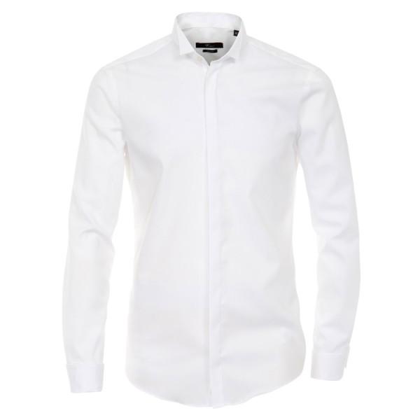 """Venti Hemd """"Popeline"""" weiß mit Kläppchenkragen und verdeckter Knopfleiste in moderner Schnittform"""