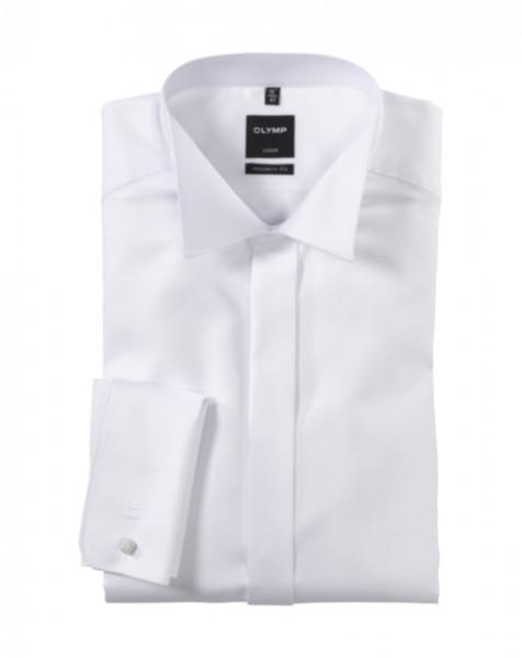 OLYMP Luxor soirée modern fit Hemd FAUX UNI weiss mit Kläppchen Kragen in moderner Schnittform