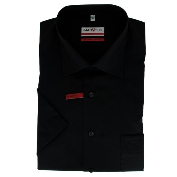 Marvelis MODERN FIT Hemd UNI POPELINE schwarz mit New Kent Kragen in moderner Schnittform