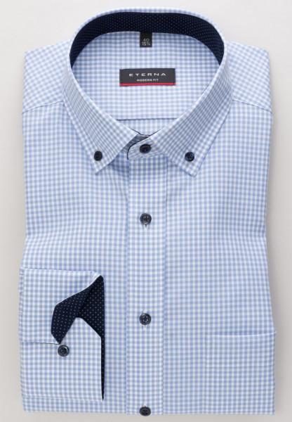 Eterna Hemd MODERN FIT VICHY POPELINE hellblau mit Button Down Kragen in moderner Schnittform