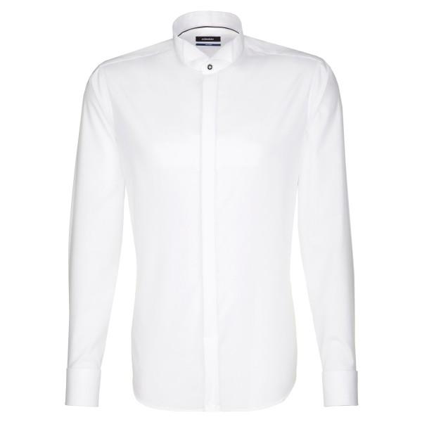 Seidensticker SHAPED Hemd UNI POPELINE weiss mit Carmen Party Kragen in moderner Schnittform
