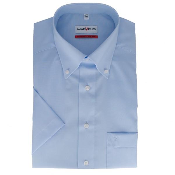 Marvelis COMFORT FIT Hemd UNI POPELINE hellblau mit Button Down Kragen in klassischer Schnittform