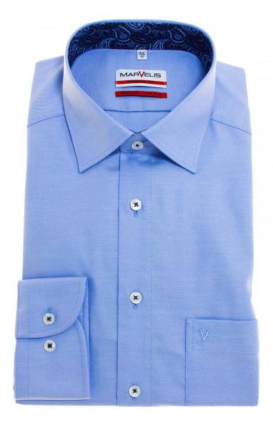 Marvelis MODERN FIT Hemd TWILL hellblau mit New Kent Kragen in moderner Schnittform