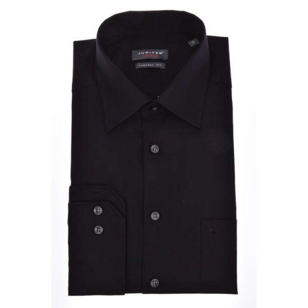 Jupiter Hemd COMFORT FIT UNI POPELINE schwarz mit Kent Kragen in klassischer Schnittform