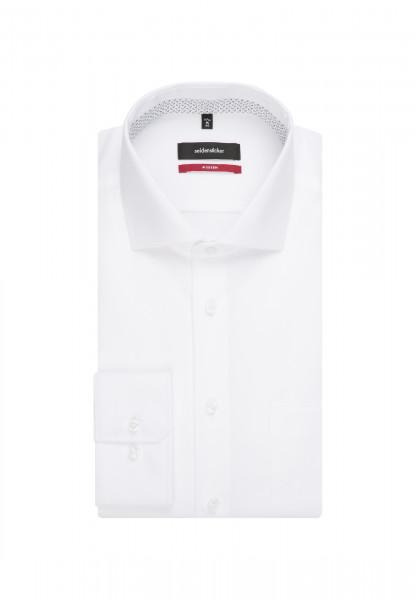 Seidensticker Hemd MODERN TWILL weiss mit Spread Kent Kragen in moderner Schnittform