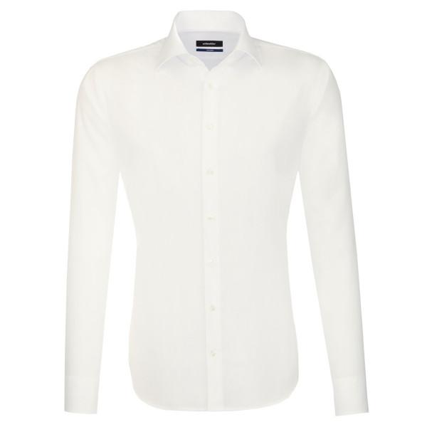 Seidensticker SHAPED Hemd UNI POPELINE beige mit Business Kent Kragen in moderner Schnittform