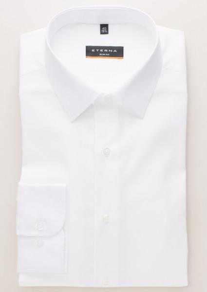 Eterna Hemd SLIM FIT UNI STRETCH weiss mit Modern Kent Kragen in schmaler Schnittform