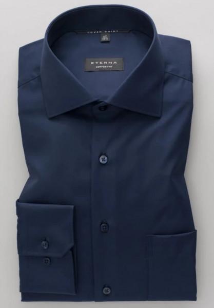 Eterna Hemd COMFORT FIT TWILL dunkelblau mit Classic Kent Kragen in klassischer Schnittform