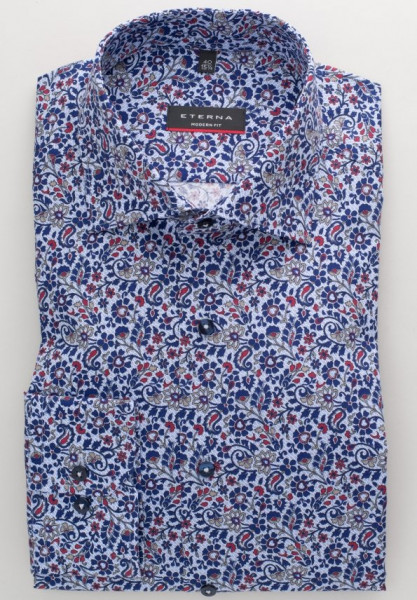 Eterna Hemd MODERN FIT PRINT dunkelblau mit Classic Kent Kragen in moderner Schnittform