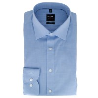 OLYMP Level Five body fit Hemd FAUX UNI hellblau mit New York Kent Kragen in schmaler Schnittform