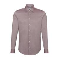 Seidensticker Hemd SLIM FIT STRUKTUR dunkelrot mit Business Kent Kragen in schmaler Schnittform