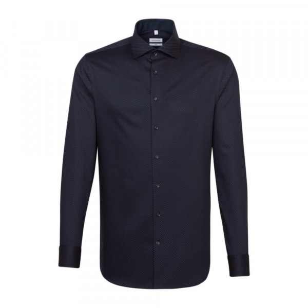 Seidensticker Hemd SLIM FIT PRINT dunkelblau mit Spread Kent Kragen in schmaler Schnittform