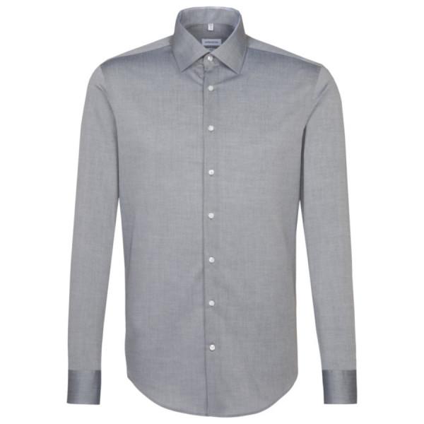 Seidensticker SLIM FIT Hemd CHAMBRAY grau mit Business Kent Kragen in schmaler Schnittform