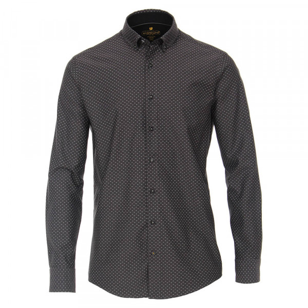 Redmond MODERN FIT Hemd PRINT schwarz mit Kent Kragen in moderner Schnittform