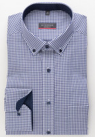 Eterna Hemd MODERN FIT VICHY POPELINE dunkelblau mit Button Down Kragen in moderner Schnittform
