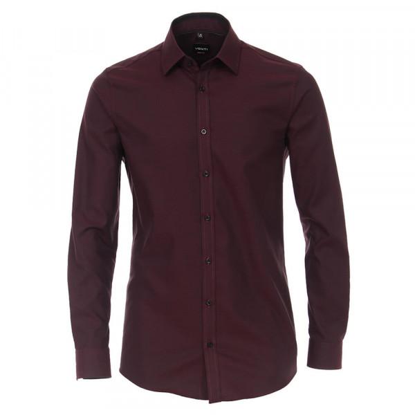 Venti Hemd BODY FIT STRUKTUR dunkelrot mit Kent Kragen in schmaler Schnittform