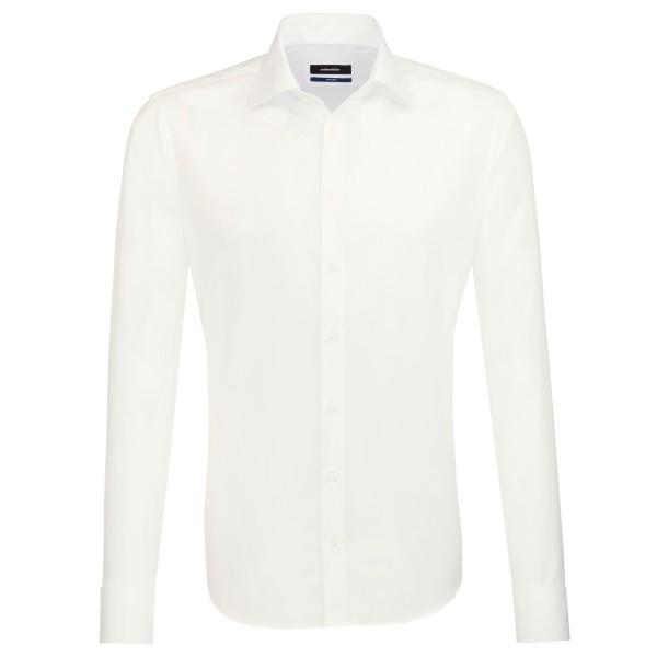 Seidensticker Hemd TAILORED UNI POPELINE beige mit Business Kent Kragen in moderner Schnittform