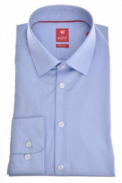 "Pure Hemd ""Slim Fit Stretch"" hellblau mit Kent Kragen in moderner Schnittform"
