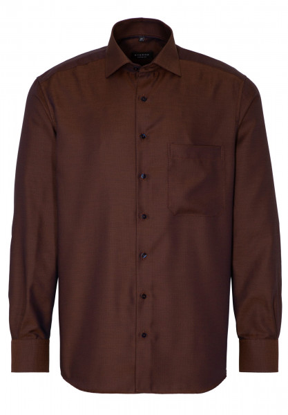 Eterna Hemd COMFORT FIT STRUKTUR dunkelbraun mit Classic Kent Kragen in moderner Schnittform