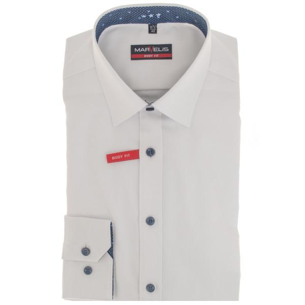 Marvelis BODY FIT Hemd STRUKTUR weiss mit New York Kent Kragen in schmaler Schnittform