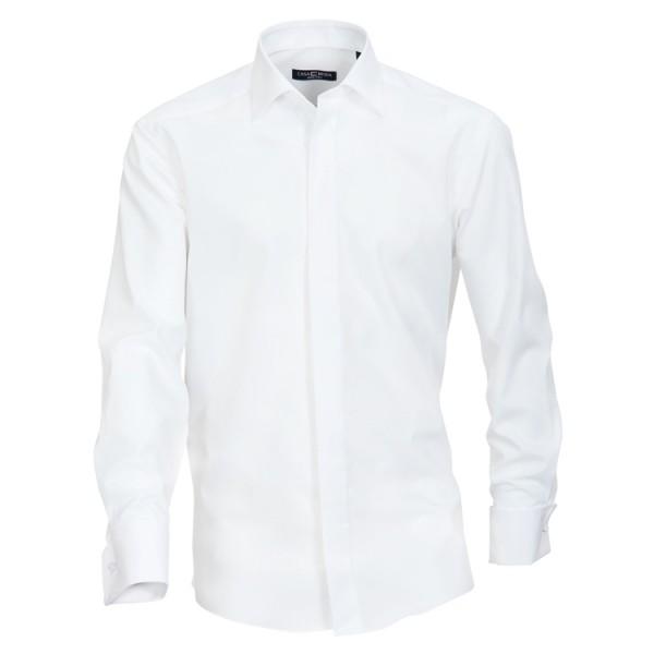 """CASAMODA Hemd """"Popeline"""" weiß mit Kent Kragen und verdeckter Knopfleiste in klassischer Schnittform"""