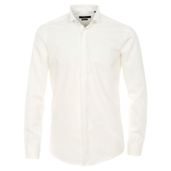 """Venti Hemd """"Popeline"""" beige mit Kläppchenkragen und verdeckter Knopfleiste in moderner Schnittform"""