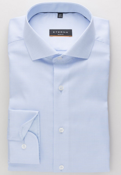 Eterna Hemd SLIM FIT STRUKTUR STRETCH hellblau mit Classic Kent Kragen in schmaler Schnittform