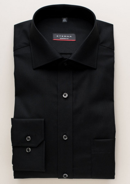 Eterna Hemd MODERN FIT UNI POPELINE schwarz mit Classic Kent Kragen in moderner Schnittform