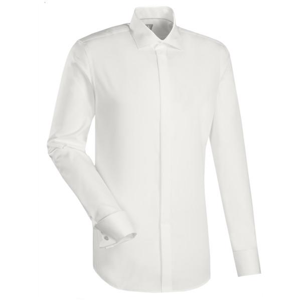 Jacques Britt CUSTOM FIT Hemd UNI POPELINE beige mit Kent Kragen in moderner Schnittform