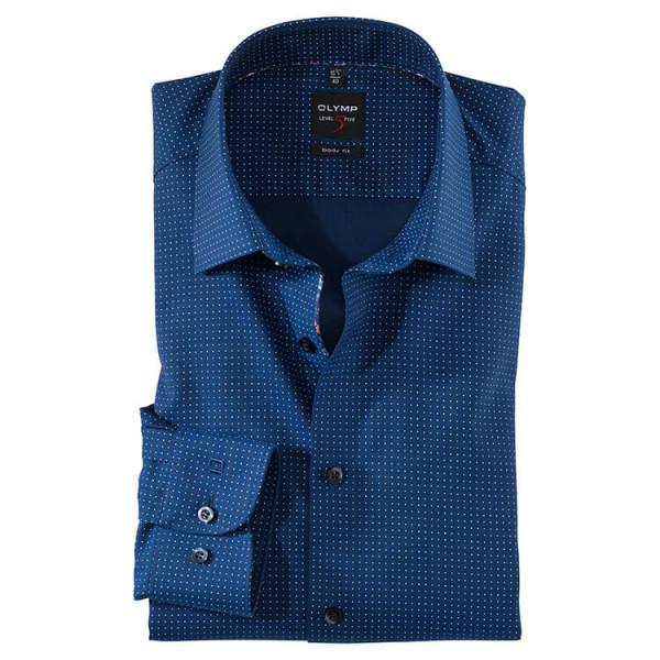 OLYMP Level Five body fit Hemd PRINT dunkelblau mit New York Kent Kragen in schmaler Schnittform