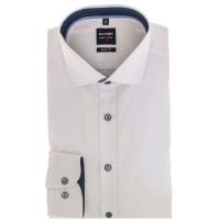 OLYMP Level Five body fit Hemd UNI POPELINE weiss mit Royal Kent Kragen in schmaler Schnittform
