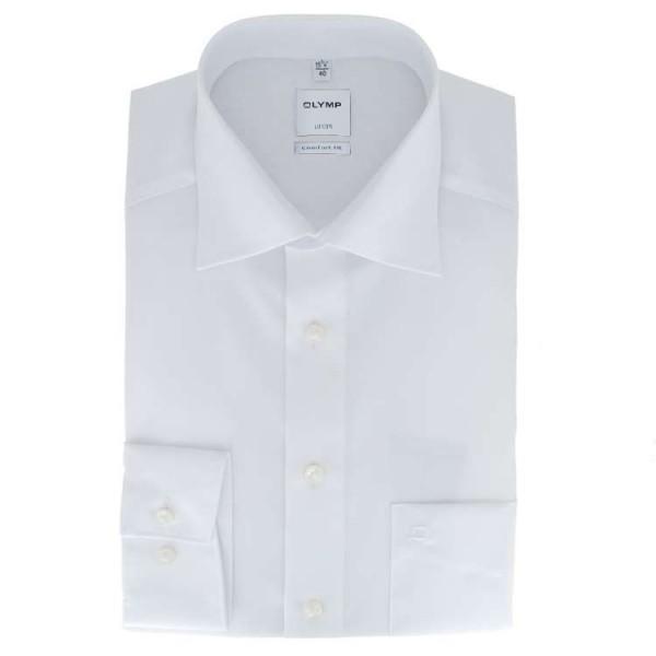 OLYMP Luxor comfort fit Hemd UNI POPELINE weiss mit New Kent Kragen in klassischer Schnittform