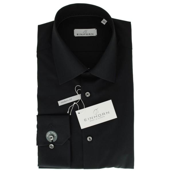 """Einhorn Hemd """"Jamie Slim"""" schwarz mit Kent Kragen in moderner Schnittform"""