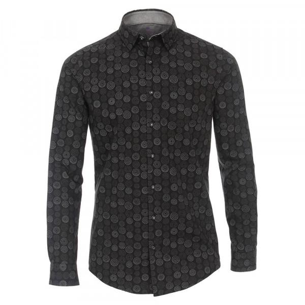 Redmond SLIM FIT Hemd PRINT hellblau mit Under Button Down Kragen in schmaler Schnittform