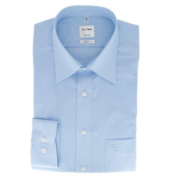 OLYMP Luxor modern fit Hemd UNI POPELINE hellblau mit Kent Kragen in moderner Schnittform