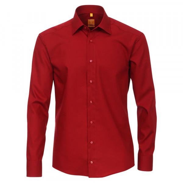 Redmond MODERN FIT Hemd UNI POPELINE rot mit Kent Kragen in moderner Schnittform