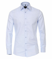 Venti Hemd BODY FIT STRUKTUR hellblau mit Kent Kragen in schmaler Schnittform
