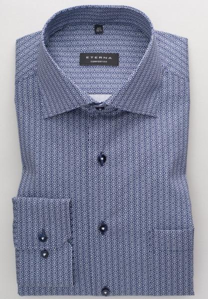 Eterna Hemd COMFORT FIT PRINT dunkelblau mit Classic Kent Kragen in klassischer Schnittform