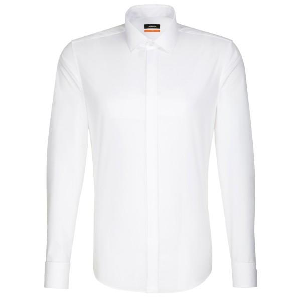 Seidensticker SLIM FIT Hemd UNI POPELINE weiss mit Business Kent Party Kragen in schmaler Schnittform