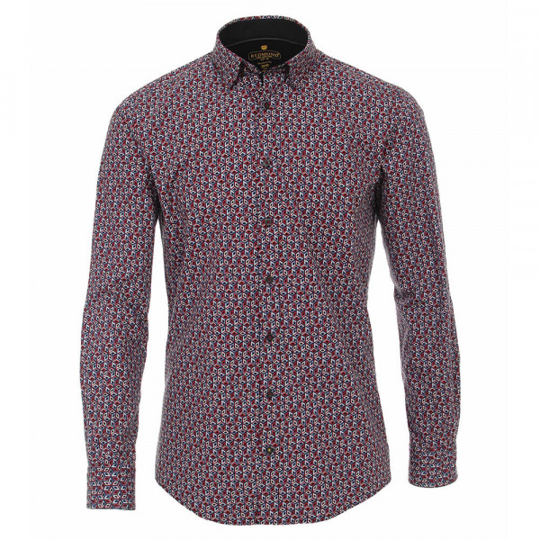 Redmond MODERN FIT Hemd PRINT rot mit Under Button Down Kragen in moderner Schnittform