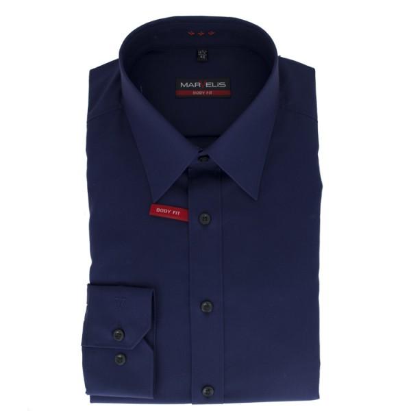Marvelis BODY FIT Hemd UNI POPELINE dunkelblau mit New York Kent Kragen in schmaler Schnittform