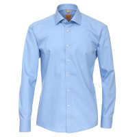 Redmond MODERN FIT Hemd UNI POPELINE mittelblau mit Kent Kragen in moderner Schnittform