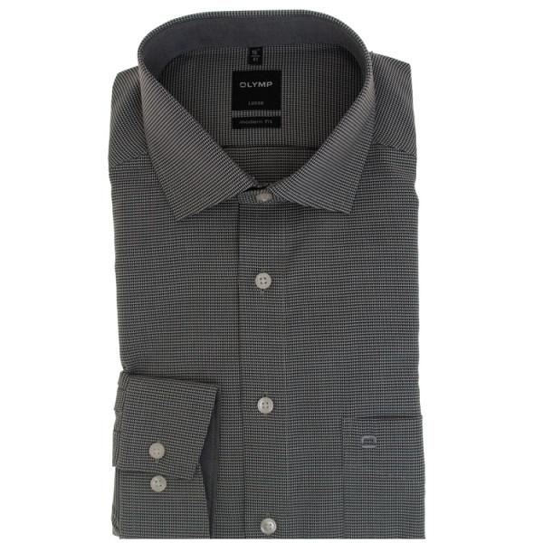 OLYMP Luxor modern fit Hemd FAUX UNI schwarz mit Global Kent Kragen in moderner Schnittform