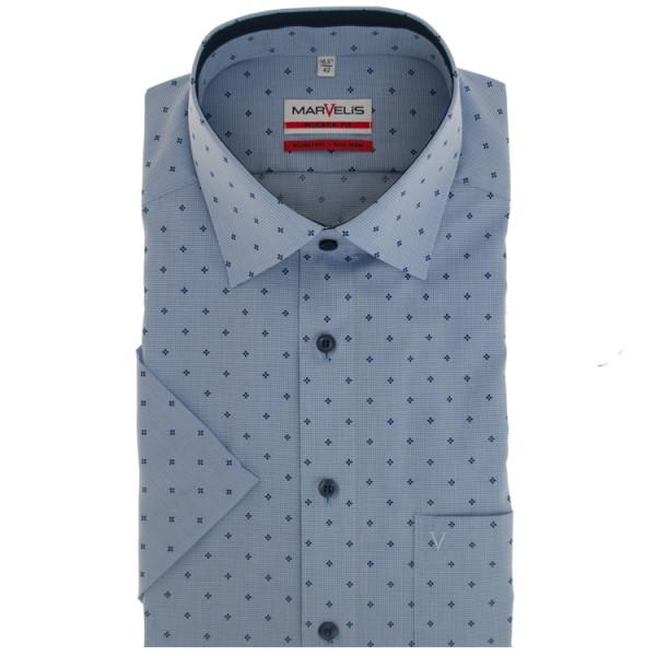 Marvelis MODERN FIT Hemd PRINT hellblau mit New Kent Kragen in moderner Schnittform