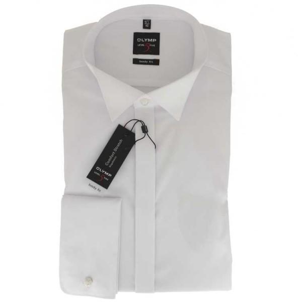 OLYMP Level Five soirée body fit Hemd UNI POPELINE weiss mit Kläppchen Kragen in schmaler Schnittform