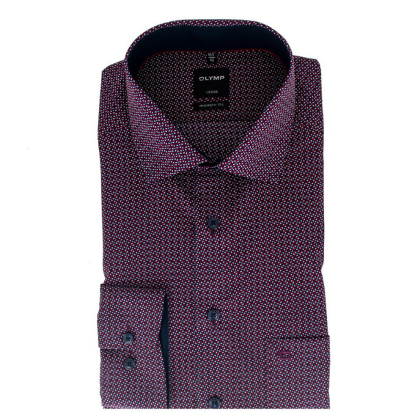 OLYMP Luxor modern fit Hemd PRINT rot mit Global Kent Kragen in moderner Schnittform