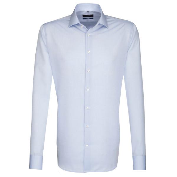 Seidensticker SHAPED Hemd CHAMBRAY hellblau mit Business Kent Kragen in moderner Schnittform