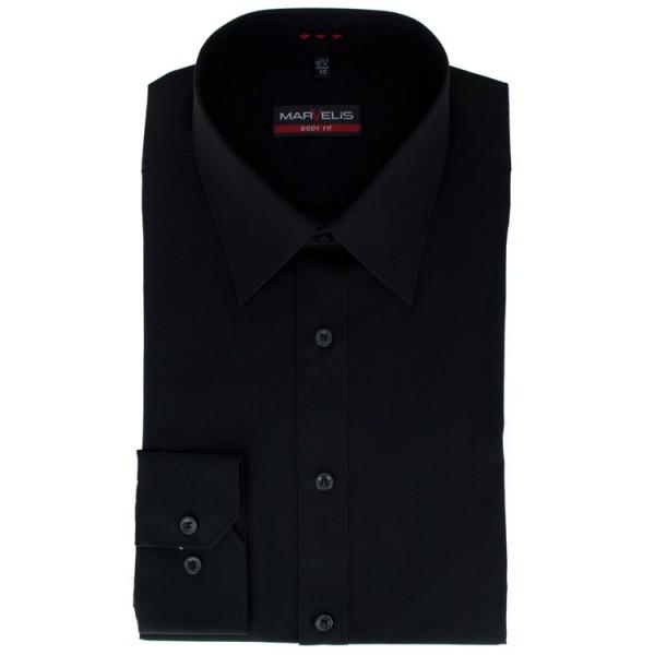 Marvelis BODY FIT Hemd UNI POPELINE schwarz mit New York Kent Kragen in schmaler Schnittform